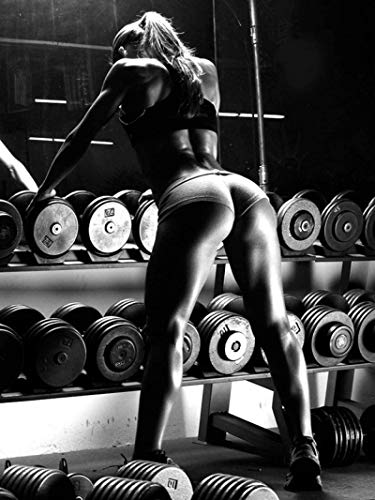 YHJJ Poster Bild Sexy Frauen Fitness Bodybuilding Motivationszitat Workout Übung Poster Sportraum Home Gym Dekor60x80cm ohne Rahmen