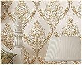 Papel de Pared 3D Damasco-Beige Papel pintado tejido no tejido Papel de para Fondo de TV Elegante Moderno Fine Decor 0.53m x 9.5m