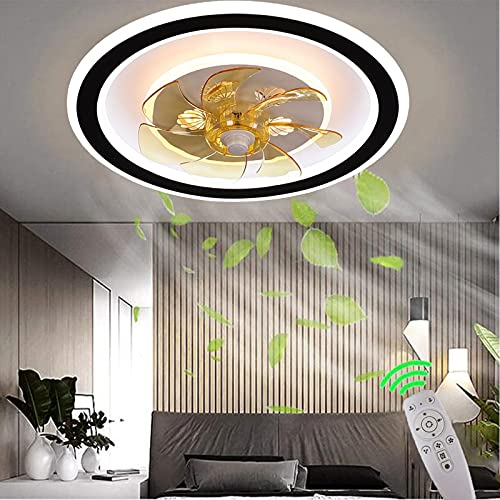 LED Ventilador de Techo con Lámpara Luces de Fan de Techo con Control Remoto Regulable 3000K~6000K Luz de Fan Ultra Silenciosa para Dormitorio,Velocidad del Viento Ajustable,con Temporizador,Ø50CM