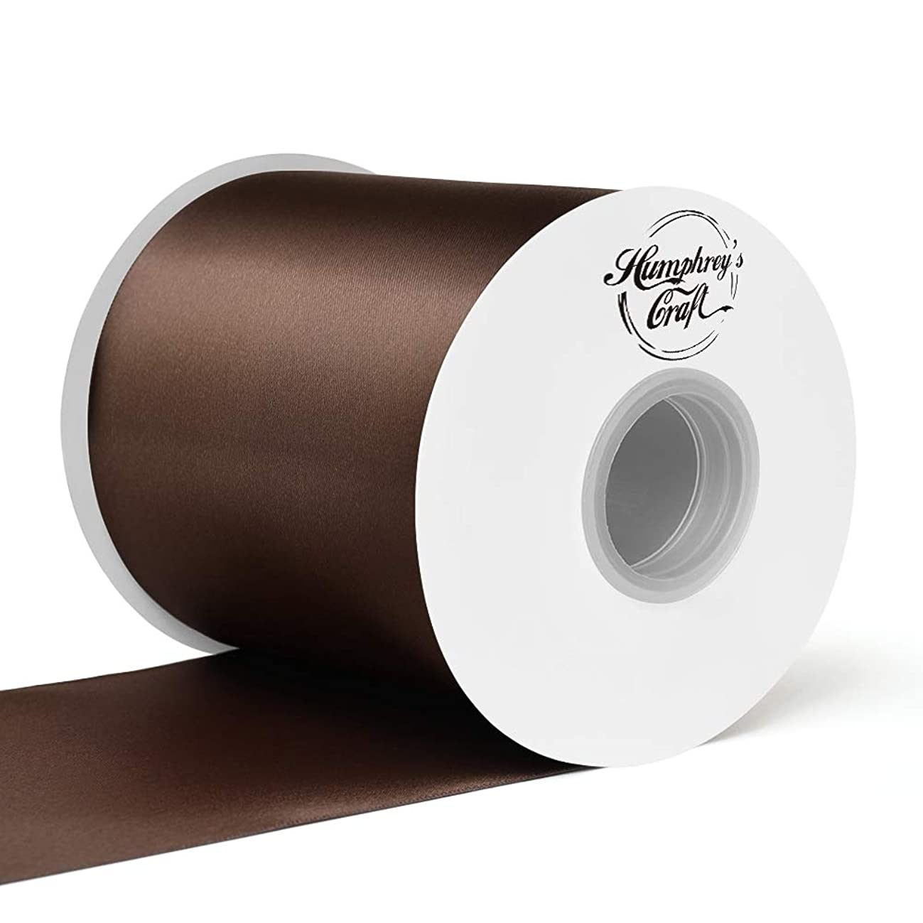Humphrey's Craft 4 inch Double Face Solid Satin Ribbon 100% Polyester Ribbon Roll -25 Yard (Brown)