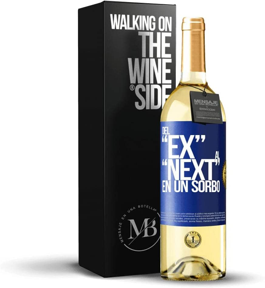 «Del EX al NEXT en un sorbo» Mensaje en una Botella. Vino Blanco Premium Verdejo Joven. Etiqueta Azul PERSONALIZABLE.