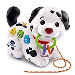 Push or pull the playful puppy using the cord to activate music while building gross motor skills Three colorful buttons promote fine motor skill development in toddlers Introduces numbers, colors and parts of the body; plays music and puppy sounds t...