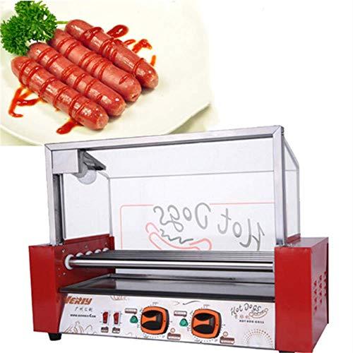 Angela Kommerzielle elektrische Hot Dog Grill Herd 7 Roller Maschine, Wurst Grillen Edelstahl Antihaft-Hotdogs-Geräte, für Convenience-Stores