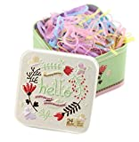 1Box (700PCS) Candy Color Mini Rubber Bands in a Tin Box Soft Elastic Bands Disposable No Injury Hair Ponytail Holders Ponyband Hair Tie with Cute Tin Container Hair Accessories for Baby Kids Girls
