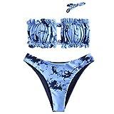 ZAFUL - Conjunto de bikini para mujer, banda sin tirantes con cordón y traje de baño de color liso con rouches Multi-d S