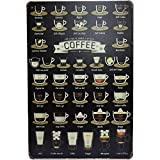 Original Retro Design Coffee Tin Metal Sign Wall Art, Thick Tinplate Print Poster Wall Decoration for Coffee Corner/Cafe/Kitchen