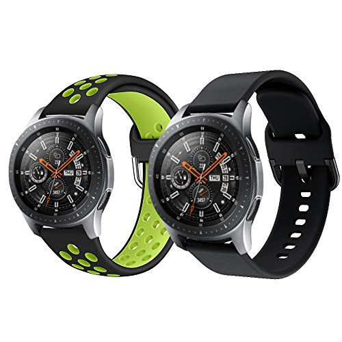 TurnTurn Armband für Galaxy Watch 3 45mm, 22mm Weich Silikon Sport Uhrenarmband Breathable Wristband Ersatzband für Samsung Galaxy Watch 46mm/Huawei Watch 2 Classic-Schwarz/Grün+Schwarz