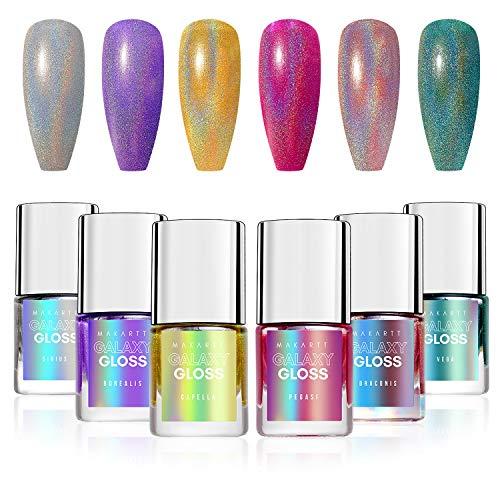 Makartt Holographic Nagellack Set, Glitter Nail Polish 6 pcs, Gorgeous Glossy Irridescent Art Nail Pigment Diamond Laser Nail Polish