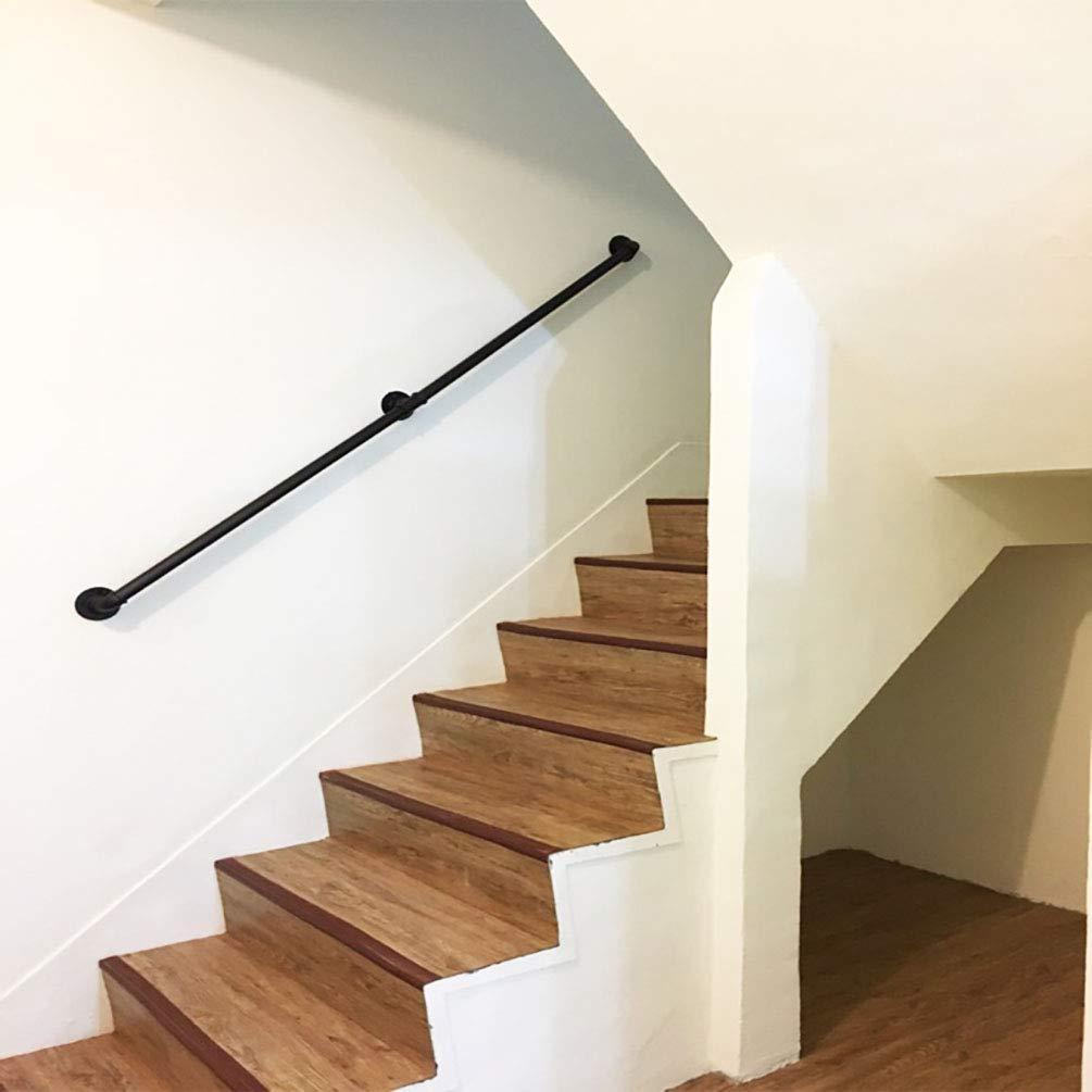 Las escaleras interiores contra el pasamanos de pared - Kit completo, Negro Mate Pintura tubería de hierro con 2 soportes de pared pasamano de la escalera Adecuado para los corredores, casas, lofts: