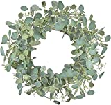 LSKYTOP 16Inch Artificial Eucalyptus Green Leaf Wreath Spring Wreath Front Door Wreath for Wall Window Home Decor