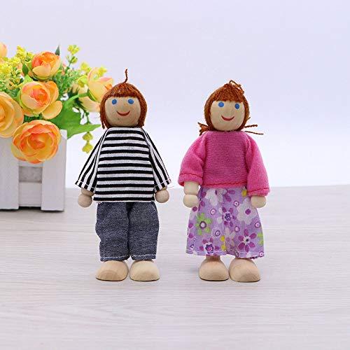 Usuny Pretend Play - Mini marionetas de casa de madera, 3 generaciones, regalo de juguete para niños