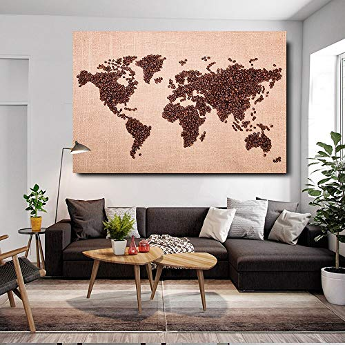 Lunderliny 1 Pieces Coffee Bean World Map Hd Wall Art Posters For Living Room Modern Home Decor Pictures Hd Print Canvas Paintings 40x60cm