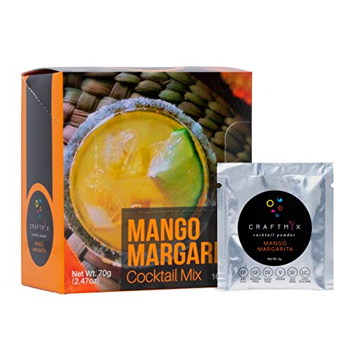 Low Calorie, Low Carb, Low Sugar Cocktail Mix | All Natural, Organic Gluten Free, Vegan Drink Mixers for Liquor or Non-Alcoholic Beverages | 10 Single-Serving Packets by Craftmix (Mango Margarita)