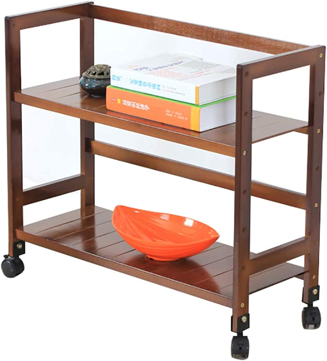 Multi-Layer Shelf Bamboo Landing Two Layers with Pulley Cabinet Printer Shelf Solid Wood Mobile Storage Rack Household (color   B)