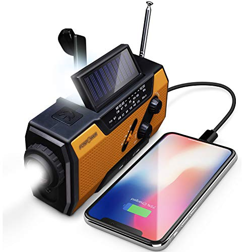 FosPower Emergency Solar Hand Crank Portable Radio NOAA Weather Radio for Household and Outdoor Emergency with AM/FM LED Flashlight Reading Lamp 2000mAh Power Bank USB Charger and SOS Alarm