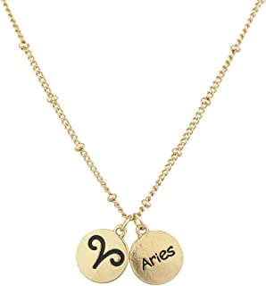 Lux Accessories Gold Aries Horoscope Astrological Zodiac Sign Charm Necklace