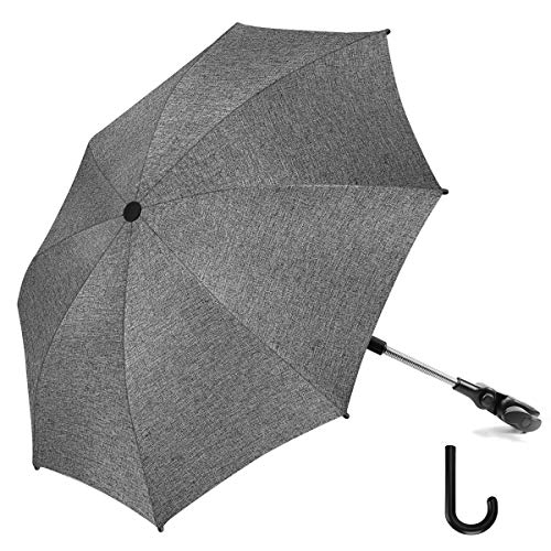 RIOGOO Ombrellone per passeggino Ombrello universale 50+ UV per bambini e neonati Protezione solare con manico ad ombrello per carrozzina, passeggino, passeggino e passeggino-grigio