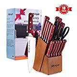 Knife Set, Premium 18-Piece Kitchen Knife Set with Block made of High Carbon German Stainless Steel...