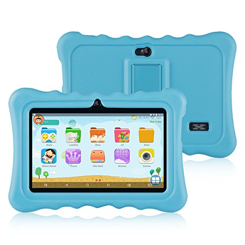 Ainol Q88 Tablet para Niños,Android 7.1, 1GB RAM + 16GB ROM,Resolución de 1024 * 600 Píxeles,Soporte de Funda de Silicona,Facilitando Educación y Entretenimiento para Niños,Color Azul