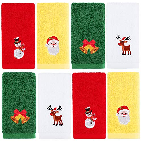 Aneco - Set di 8 asciugamani natalizi da 30 x 40 cm, 100% puro cotone, motivo natalizio, set di asciugamani decorativi per il bagno, colore: rosso, bianco, giallo, verde
