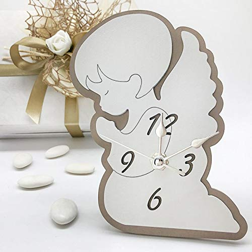 Ingrosso e Risparmio Reloj con silueta en forma de ángel de madera blanca y pardo, bombonera para bautizo, comunión macho, hembra, con caja de regalo (con caja Tiffany)
