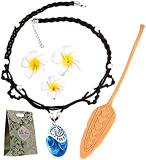Evursua Princess Dress Up Moana Costume Accessories Set, Seashell Necklace Flower Hairpins and Moana Spear Adventure Movie For Kids