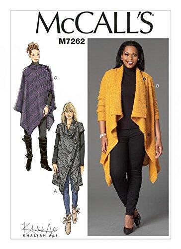 McCall's Damen-Schnittmuster 7262 für Pullover, Mantel und Poncho