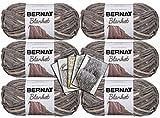 Bernat Blanket Yarn - 6 Pack Bundle with 5 Patterns - Silver Steel