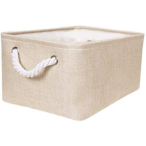 JIAHU Schmutz-Aufbewahrungsbox aus Baumwollseil, mit Griff, für den Schreibtisch, Beige / Grau, 1 Stück