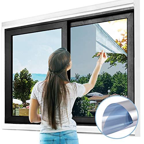 Gimars Spiegelfolie,selbstklebend sichtschutzfolie für Fenster, UV Schutzfolie/adhäsionsfoliefenster Folien/Reflektierende Fensterfolie Sonnenschutzfolie Wärmeisolierung - Silber (60x200cm)