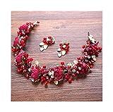 YUNGYE Accesorios de la joyería Nupcial Pelo de la Boda de la Flor Colorida Perlas de Resina Diadema headmade Mujeres de la Vendimia del Casco de Pelo (Metal Color : Red with Earrings)