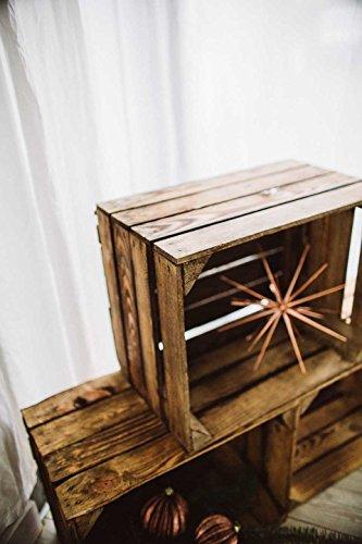 Geflammte Holzkisten im Set-Angebot: Originale, Vintage Obstkisten Apfelkisten aus dem Alten Land zum Möbelbau oder Dekoration mit den Maßen 50 x 40 x 30cm (3er Set) - 5