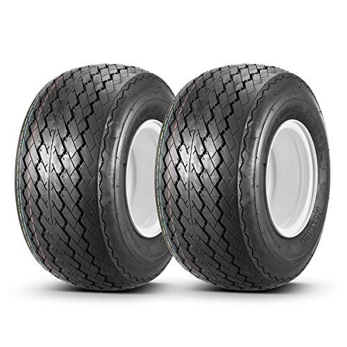 18x8.50-8 with 8x7 White Wheel Assembly for Golf Cart and Lawn Mower, Set of 2