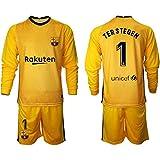 NMLB Jersey de fútbol para niños Jersey Jersey Set - Portero Atleta's Jersey Fans Sudadera / 1# Těr Stěgěn Yellow-S