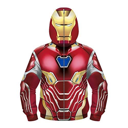YUANY Felpe con Cappuccio Iron Man per Bambini con Stampa 3D Felpa con Cappuccio Cosplay Mascherata con Cerniera,Iron Man -115cm~120cm(XS)