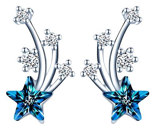Infinite U - Pendientes de plata de ley 925 para mujer y niña, pendientes de estrella incrustados con circonita y cristal azul brillante y elegante