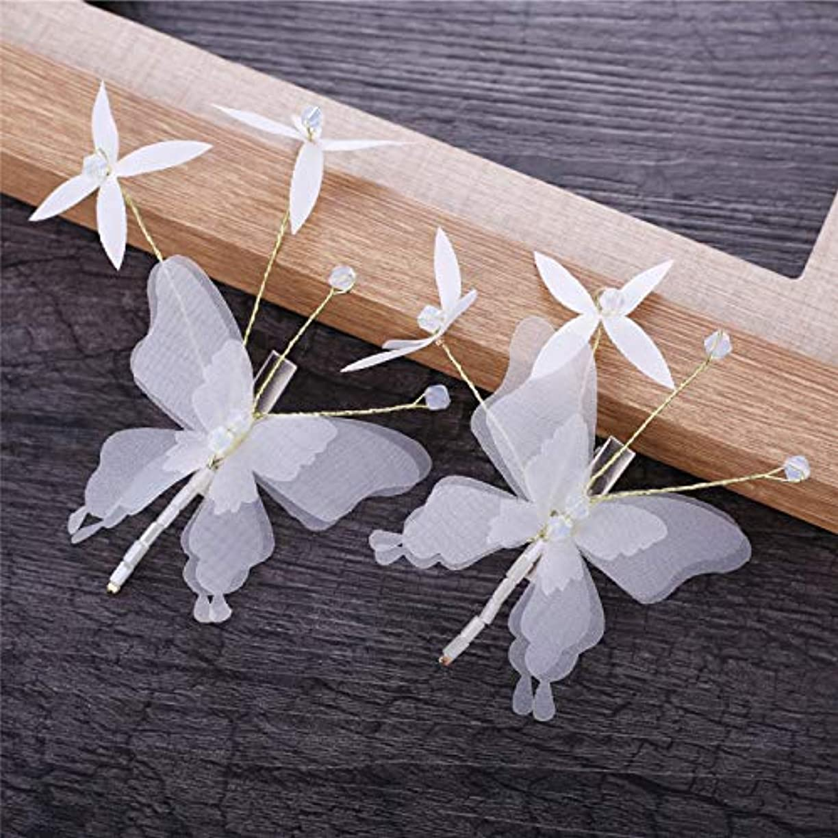 砂利最近スラックHuaQingPiJu-JP 手作りの蝶タッセルヘアピンヘアアクセサリー(ホワイト)