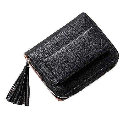 Diyafas Damen Kleine Leder Geldbörse Kartenhalter Mädchen Münze Portemonnaie Kurz Geldbeutel mit Reißverschluss