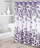 Kids Zone Home Linen Dekorativer Duschvorhang mit floralem Blättermuster, wasserdichter Stoff, Violett / Grau, mit 12 Rollhaken aus Edelstahl für modernes Badezimmer