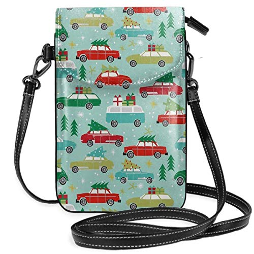 Weihnachts-Auto-Tradition, Weihnachtsbäume, Urlaubsmuster, leicht, kleine Umhängetasche, Handy-Geldbörse für Frauen und Mädchen mit praktischem Tragen