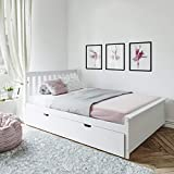 Max & Lily Solid Wood Full-Size Bed with Trundle Bed, White