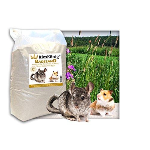 Premium Badesand für Chinchillasand, Hamster, Rennmäuse und Degus - samtweiche abgerundete Körnung 25 Kilogramm