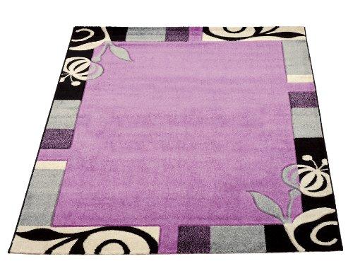 Sona-Lux Tapis moderne pour salon ou tour de lit pour chambre à coucher ou comme chemin de table, rectangulaire, rond, Aubergine, aubergine, 60 x 110 cm