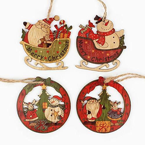 JIUHE 4 unids Creativo Santa cláusula y muñeco de Nieve de Madera Colgantes de Navidad Ornamento for Adornos de árbol de Navidad decoración de los Juguetes for niños (Color : Retro Mixed)