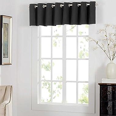 Newport 14 , 1 Grommet Window Curtain Valance - Black