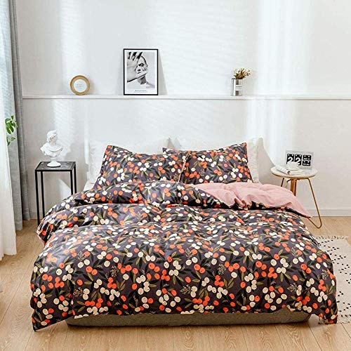 RONGXIE Orange Red White Printed Fruit Pattern - Single (135 X 200 Cm) - Duvet Cover & Pillowcase Set Bedding Quilt Case Single Double King Super King