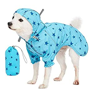 Blueberry Pet 7 Patterns Lightweight Packable Reflective Dog Raincoat or Poncho