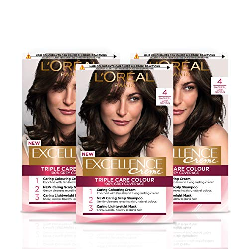 L'Oreal Paris Excellence Crème Brown Permanent Hair Dye, Up to 100% Grey Hair Coverage, Natural-Looking Hair Colour Result, Blonde Hair Dye 4 Natural Dark Brown Pack of 3