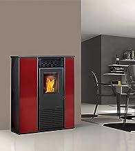 estufa de pellets karmek One Alice de 14,3KW de aire ventilada de acero, Rojo