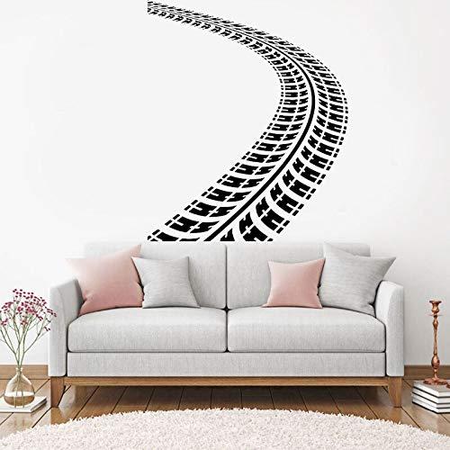 Huellas de neumáticos, calcomanía de vinilo para pared, camino de tierra con huellas, pegatinas artísticas, murales, diseño, decoración interior del hogar para sala de estar, DI42x51cm